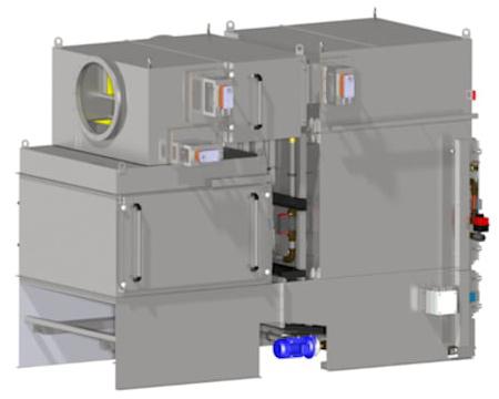 Module Tandem de KMA ULTRAVENT® pour la purification d'air vicié au rame textile.