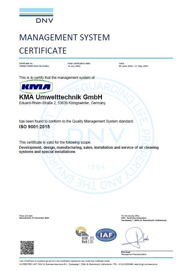 ISO Certificat de KMA Umwelttechnik